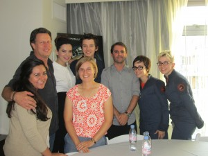 L to R: Cassandra from Ender's Ansible, Gavin Hood, Hailee Steinfeld, Liz, Asa Butterfield, Kelly and Staff from Ender News